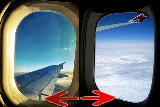 Buraquinhos na janela dos aviões