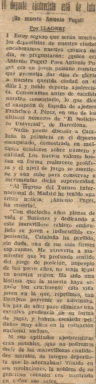 Recorte de prensa sobre Antoni Puget en Diario Español de Tarragona (1), 1959