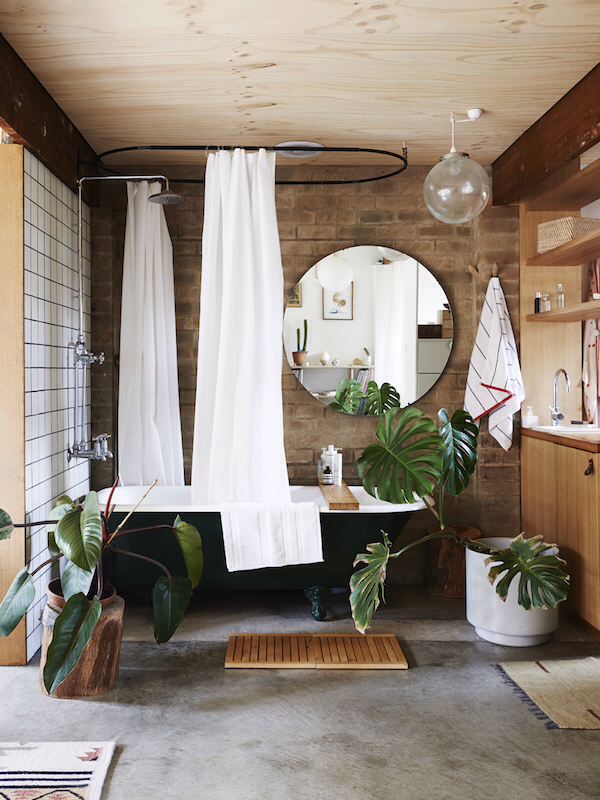 Claw foot tub and plants in bathroom- design addict mom