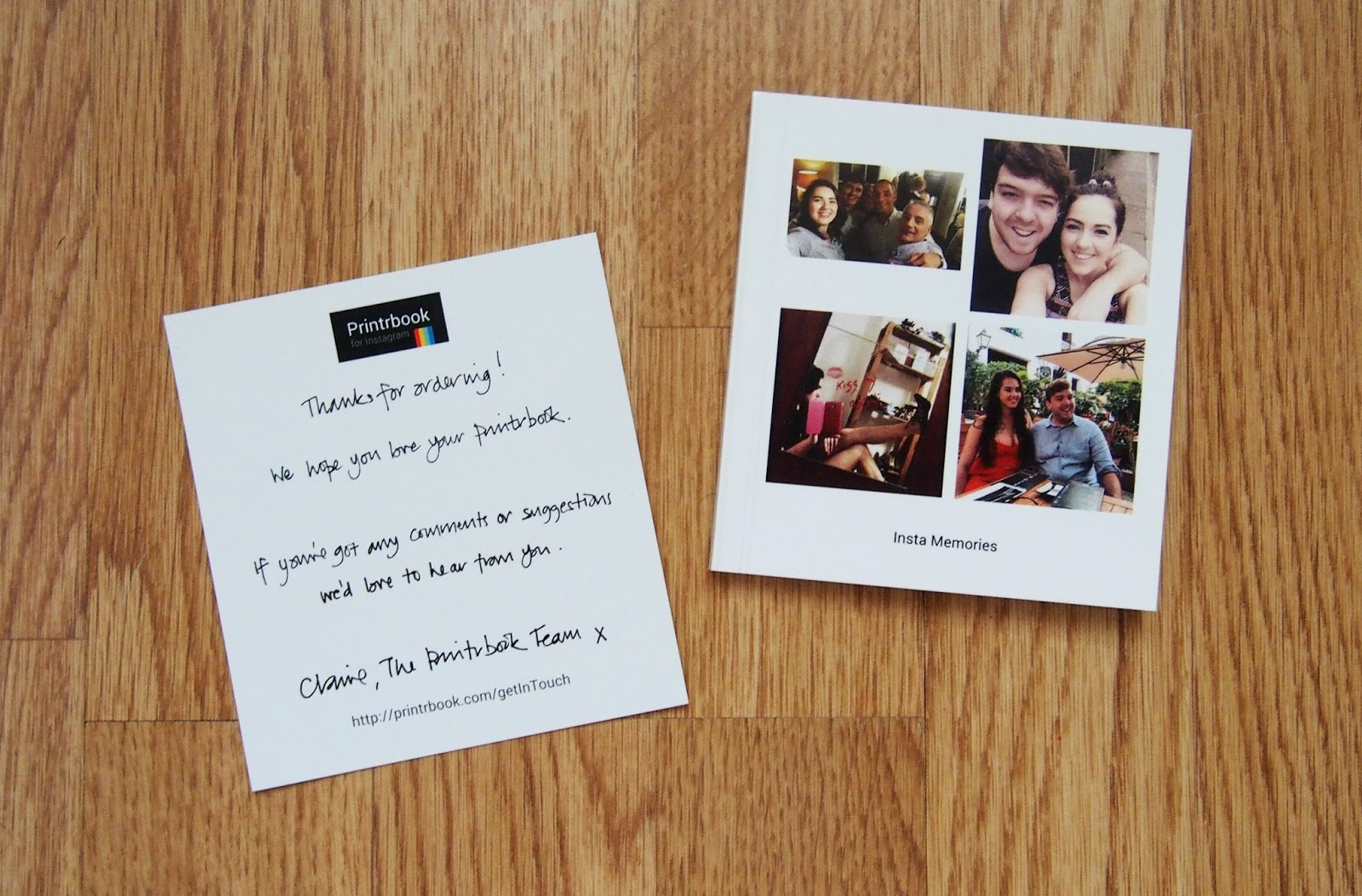 Book and thank you card