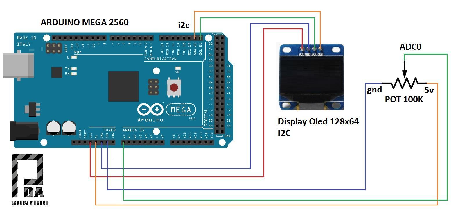 Arduino mega oled display i c master modbus rtu scada