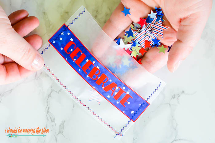 Patriotic Glassine Confetti Packets | Make these fun packets as Fourth of July party favors or alternative to traditional fireworks and sparklers.
