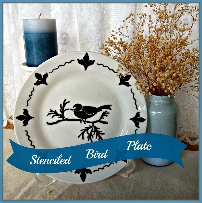 How to Stencil a Plate - Dollar Tree plate stenciled with black sharpie marker