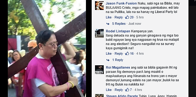 LP Iloilo Mayor Slams by Netizens for Publicly Carrying the Cross