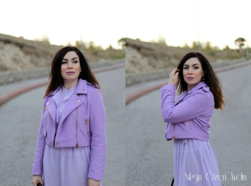 Lila Ceket ve Lila Elbise-moda blogu-fashion blog