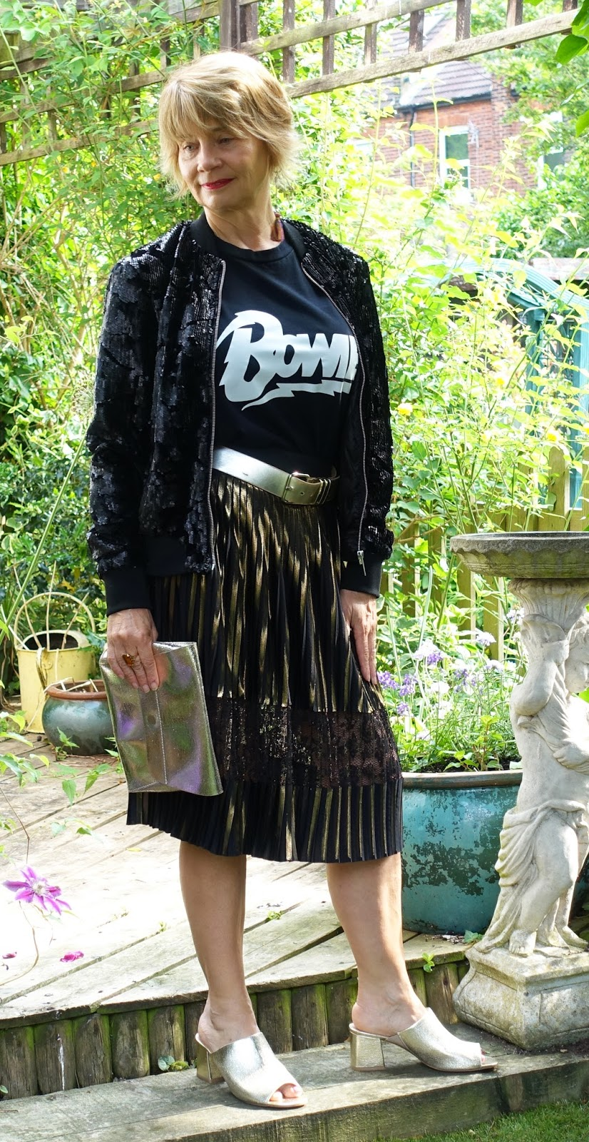 Gail Hanlon, blogger for Is This Mutton, in the 5 Over 50 Challenge Marvellous Metallics