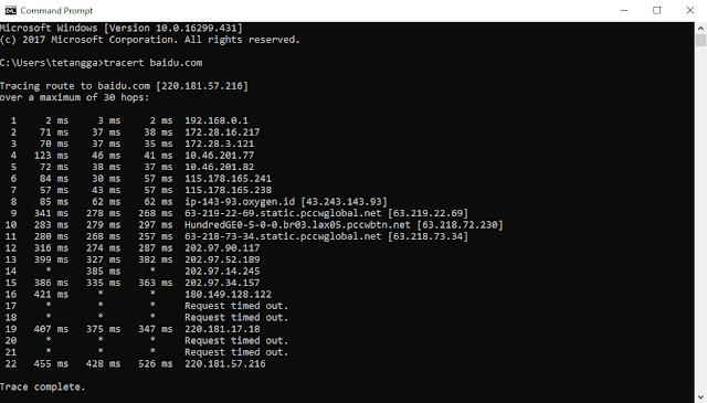 traceroute web baidu dalam analisis yang saya lakukan