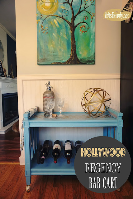HOLLYWOOD REGENCY BARCART MAKEOVER GENERAL FINISHES BEFORE AND AFTER CUSTOM BLUE AND GOLD PAINTED 70S BARCART
