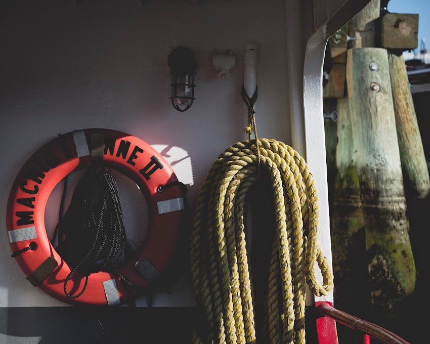 Life preserver and rope aboard the Casco Bay Lines ferry Machigonne II June 2014 photo by Corey Templeton