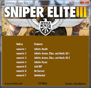 Trainer Sniper Elite 3 v3.1 +7 Multi Hack