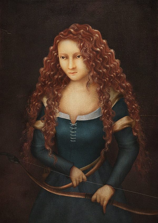 05-Merida-Thunyamon-Charoensuttikul-Illustrations-of-Disney-Princesses-with-a-Renaissance-Twist-www-designstack-co