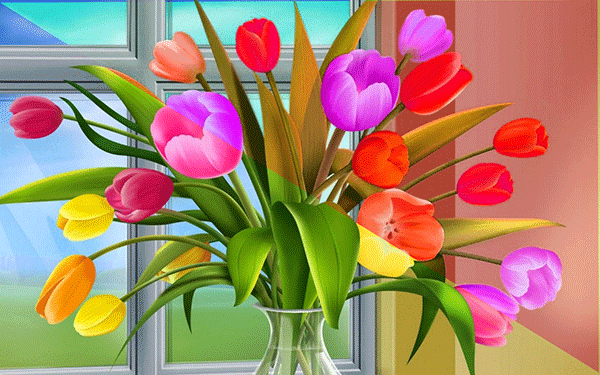 Modified Tulip Flowers in Vase
