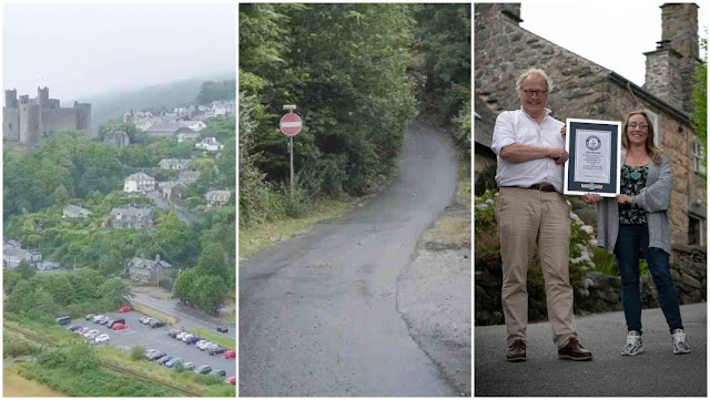 Harlech, hills of North Wales, Welsh town, steepest street
