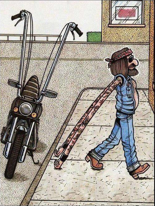 Funny Biker Cartoon Image Joke