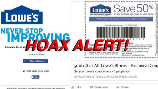 Lowe's 50 coupon on facebook
