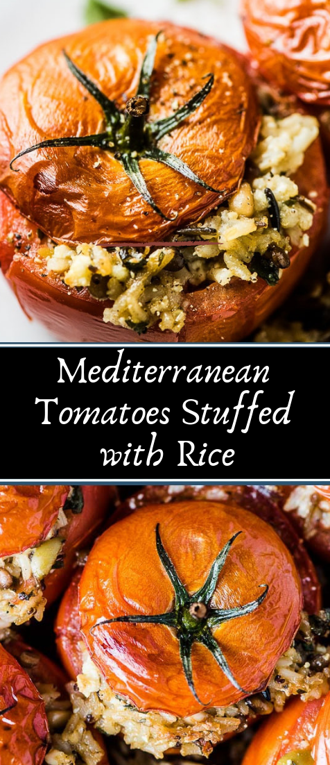 Mediterranean Tomatoes Stuffed with Rice #vegan #recipevegetarian