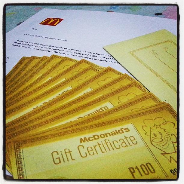mcdonalds gift certificate philippines | lamoureph blog