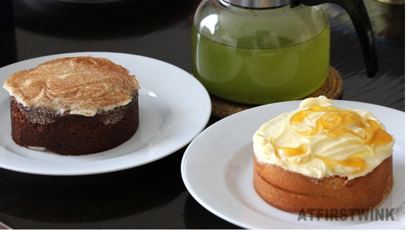 Marks & Spencer carrot and passion fruit cakes matcha green tea