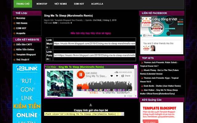 Giao Diện Trang Nghe Nhạc Blogspot 2019