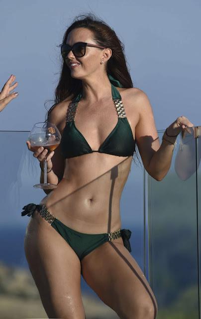 Jennifer Metcalfe in Bikini at a pool in Ibiza