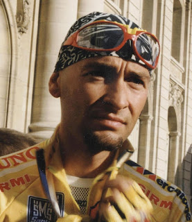 Marco Pantani - instantly recognisable in his trademark bandana
