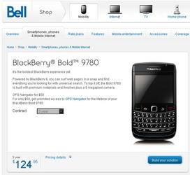 BlackBerry Bold 9780 lands on Bell