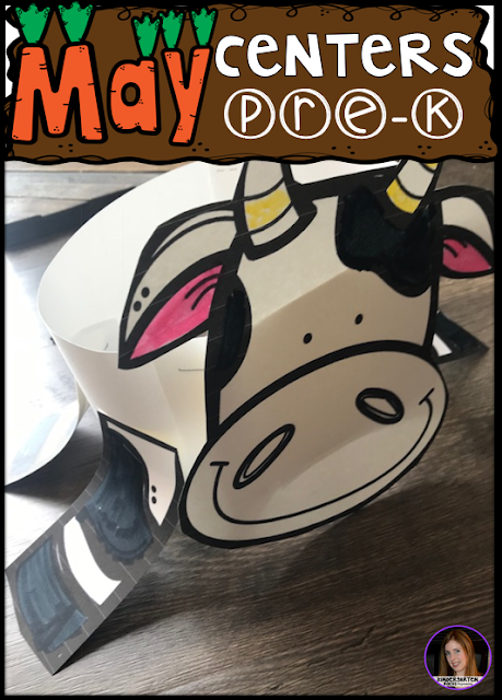 Are you looking for fun hands on centers for your pond, insects and spring themed activities? The Preschool End of the Year Spring Centers for May is sure to keep their interest and will help build important literacy, math and writing (fine-motor) skills. Like this cute cow crown.