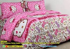 Sprei Custom Katun Lokal Anak Hello Kitty Leopard Pink Kartun Karakter Pink