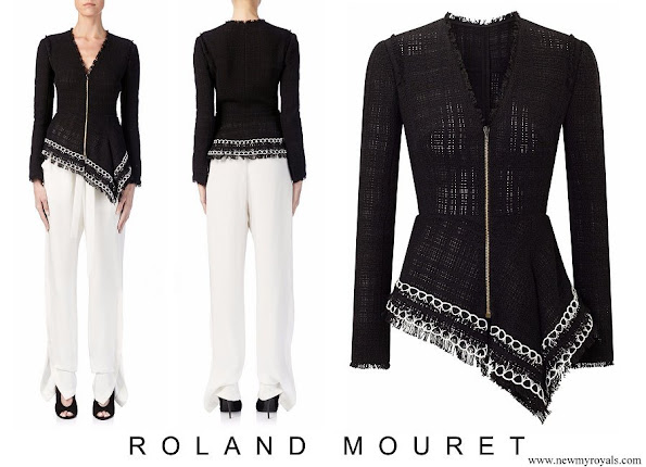 Queen Rania wore Roland Mouret Hayton open-weave cotton jacket and cotton trousers