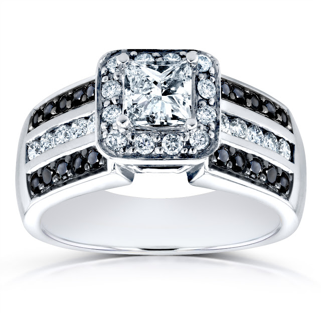 Three-Row Princess White and Black Diamond Halo Engagement Ring 1 CTW in 14k White Gold