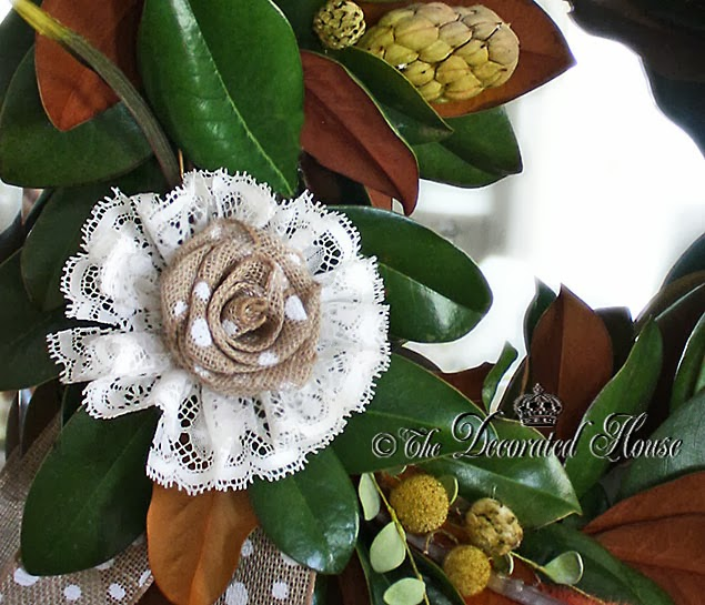 The Decorated House    Magnolia Leaves   Burlap Flowers   Fall Decor     The Decorated House   Fall Decorating Burlap Flowers and Nature  Magnolia  Leaf Wreath  and Burlap