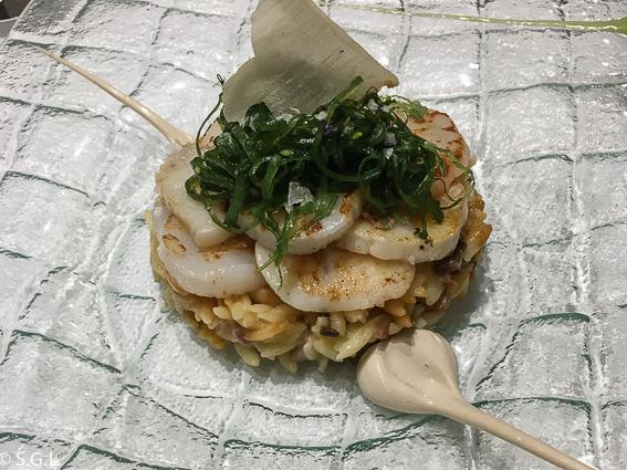 Vieiras sobre falso risotto de Hongos. Restaurante Amaren. Comer en Bilbao
