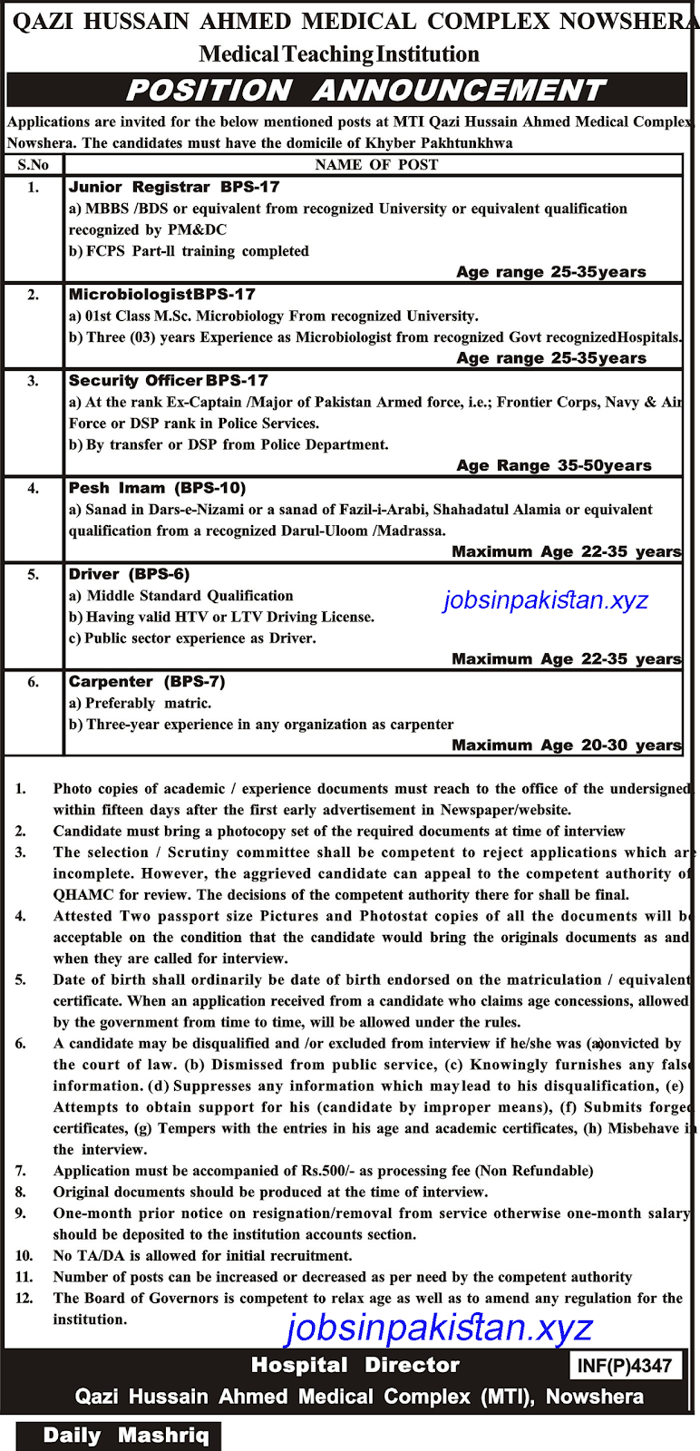 Advertisement for Qazi Hussain Ahmed Medical Complex Jobs 2018