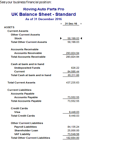 Balance Sheet Report In Quickbooks