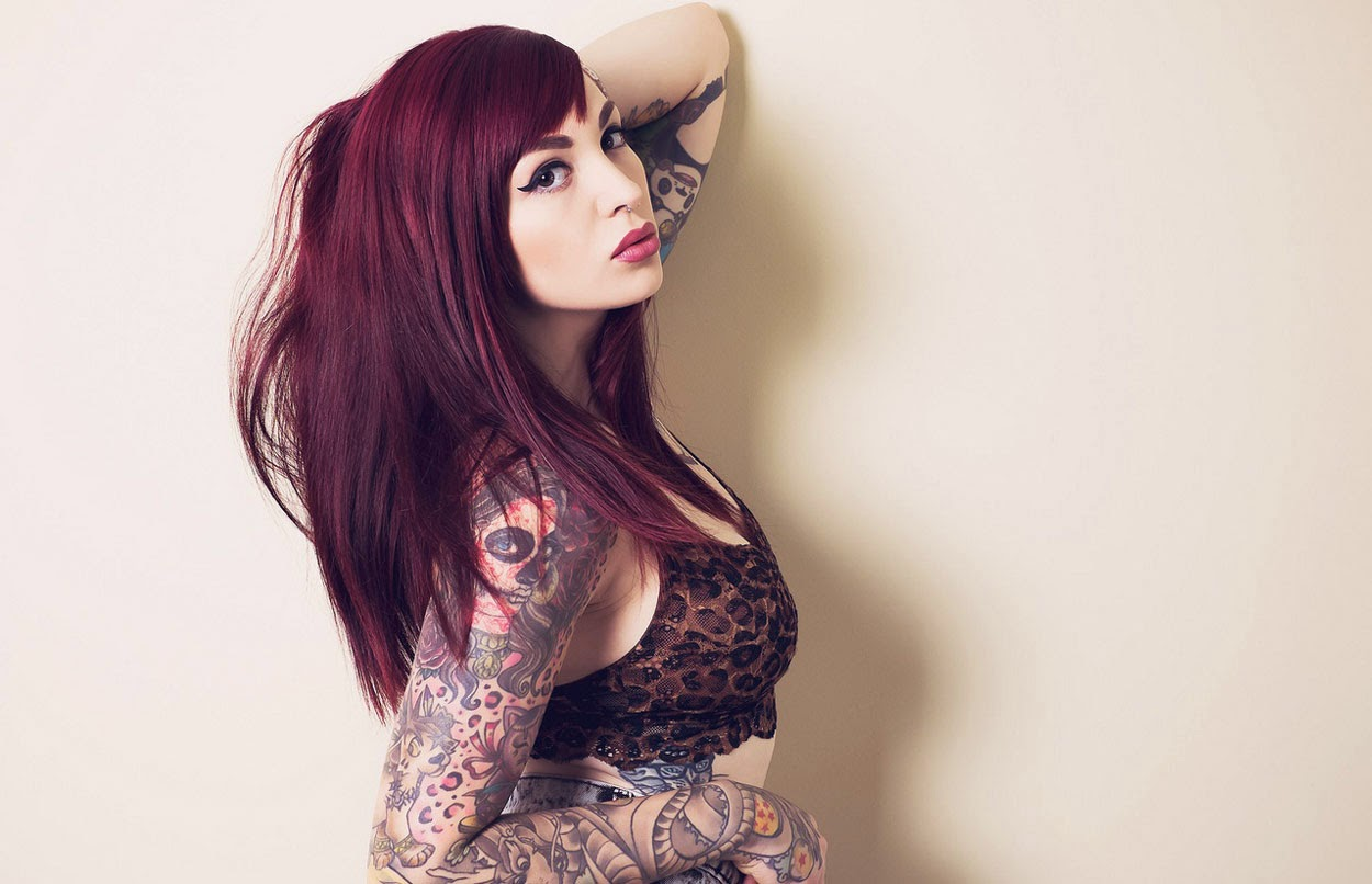 Stunning Full Arm Tattoo Girl Wallpaper