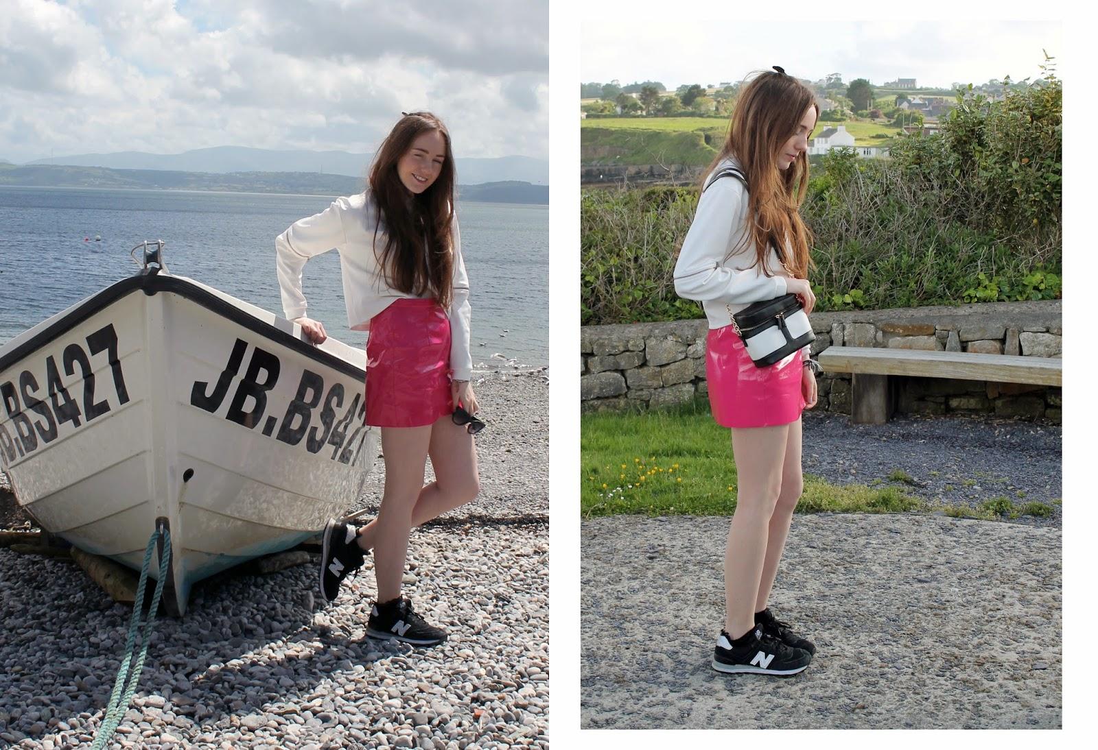 neoprene sweatshirt, asos neoprene jumper, pvc miniskirt, new balance 574s