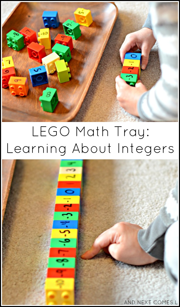 Learning about integers with LEGO DUPLO - hands on elementary math for kids from And Next Comes L
