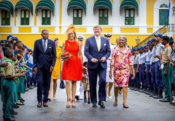 Queen Maxima- wore NATAN Dress. Governor Lucille Andrea George-Wout of Curaçao and Minister Eugene Rhuggenaath. Dia di Bandera