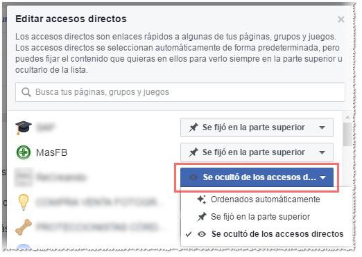 Fijar, ordenar automaticamente u ocultar accesos en Facebook - MasFB
