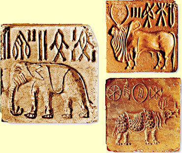 Indus Valley steatite seals depicting animal images in relief
