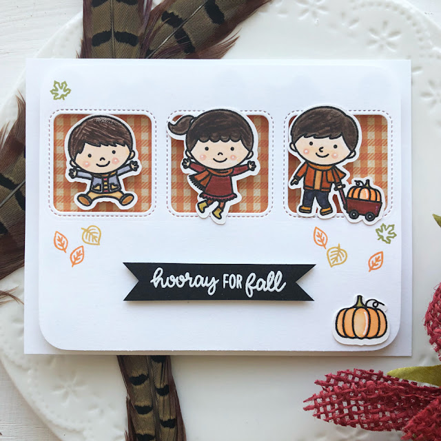 Sunny Studio Stamps: Fall Kiddos Window Trio Squares Customer Card by Ashley Hughes