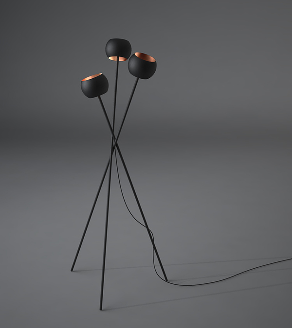 Black floor lamp with three legs