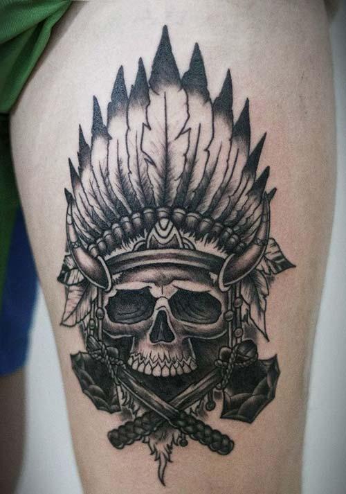 erkek üst bacak dövme modelleri man thigh tattoos 37