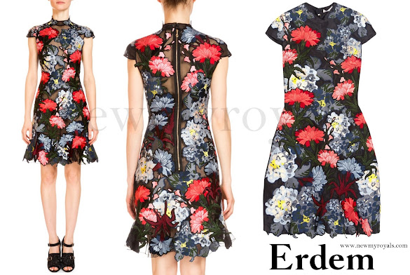 Princess Eugenie wore ERDEM Hetty Embroidered Silk-Organza Mini Dress