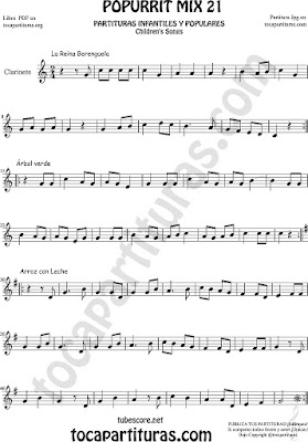 Partitura de Clarinete La Reina Berenguela, Árbol Verde y Arroz con Leche Mix 21 Sheet Music for Clarinet Music Score