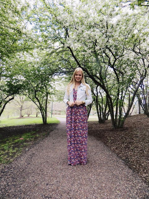 Mata Traders Highland Park floral maxi dress, Sudara Bengal bangle cuff bracelet, Purpose Jewelry Harmony necklace, Charlotte Russe denim jacket, casual outfit, teacher outfit, spring outfit, sustainable, sustainable fashion, ethical, ethical fashion