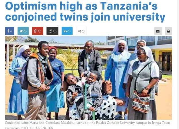 Tanzania conjoined twins start university classes