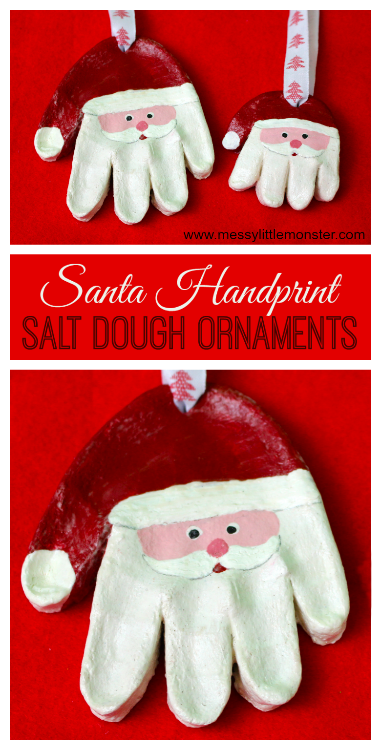 Santa salt dough handprint ornaments. Use our easy salt dough recipe to make salt dough ornaments. Santa handprint ormaments make the best Christmas santa crafts for kids! making salt dough crafts for babies, toddlers and preschoolers is easy and they make adorable first christmas ornaments.