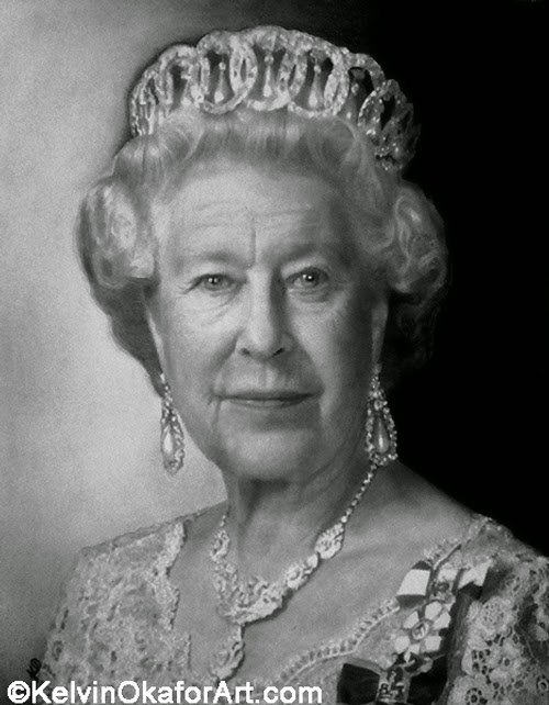 19-Queen-Elizabeth-II-Kelvin-Okafor-Celebrity-Portrait-Drawings-Full-of-Emotions-www-designstack-co