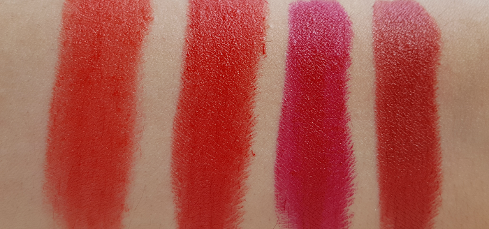 Swatches: L´Oréal Paris Color Riche Matte  344 Retro Red - 346 Scarlett Silhouette - 347 Haute Rouge - 348 Brick Vintage